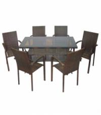 Кафяв ратан-трапезна маса 130см. и 6 стола