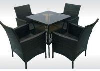 Комплект кафяв ратан трапезна маса и 4 фотьойла