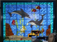 Витраж с делфини