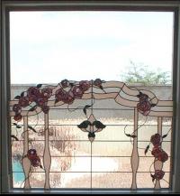 Витраж за прозорец с висяци цветя