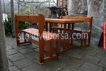 изработка на битова маса с 2 дървени пейки