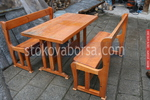 по поръчка битова маса с две дървени пейки