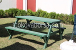 изработка на дървени пейки с маса  по поръчка