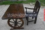 битови дървени маси с един дървен стол за заведения