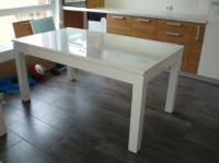 Маса за трапезария от стъкло и бял гланц 160/80см