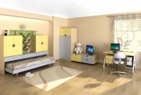Мебели за детска стая в топли тонове
