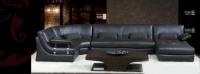 Луксозен кожен диван цвят черно