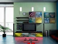 ТВ секция венге с принт стъкло