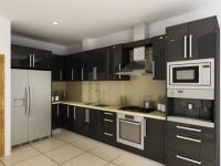 Ъглова кухня от черно пдч