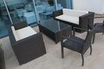 Универсален стол и маса от черен ратан за всесезонно използване