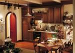 луксозни  кафяви кухни масив с плавни механизми