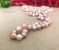 Дълго колие от естествени, розови перли