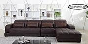 Черен кожен диван с мемори пяна по поръчка 561