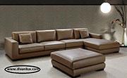 Кафяв кожен диван с мемори пяна по поръчка 568