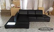 Кожен диван с лед осветление по поръчка 570