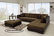 Луксозен ъглов диван с табуретка по поръчка 595