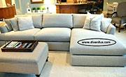 Ъглов диван и табуретка с гъши пух по поръчка 610