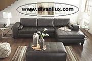 Кожен ъглов диван и табуретка по поръчка 613