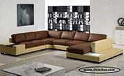 Кожен пе-образен диван по поръчка 1110