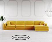Ъглов диван в жълто с мемори пяна по поръчка 630