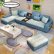 Уникален ъглов диван с табуретка по поръчка 684