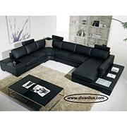 Черен кожен пе-образен диван с мемори пяна 707