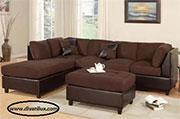 Кафяв диван с лежанка и табуретка 716