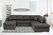 Пе-образен диван в сиво по поръчка 753