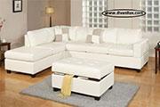 Кожен ъглов диван в бяло по поръчка 758
