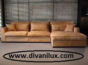 Кожен ъглов диван по поръчка 762