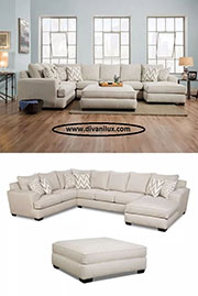 Пе-образен диван с табуретка по поръчка 775