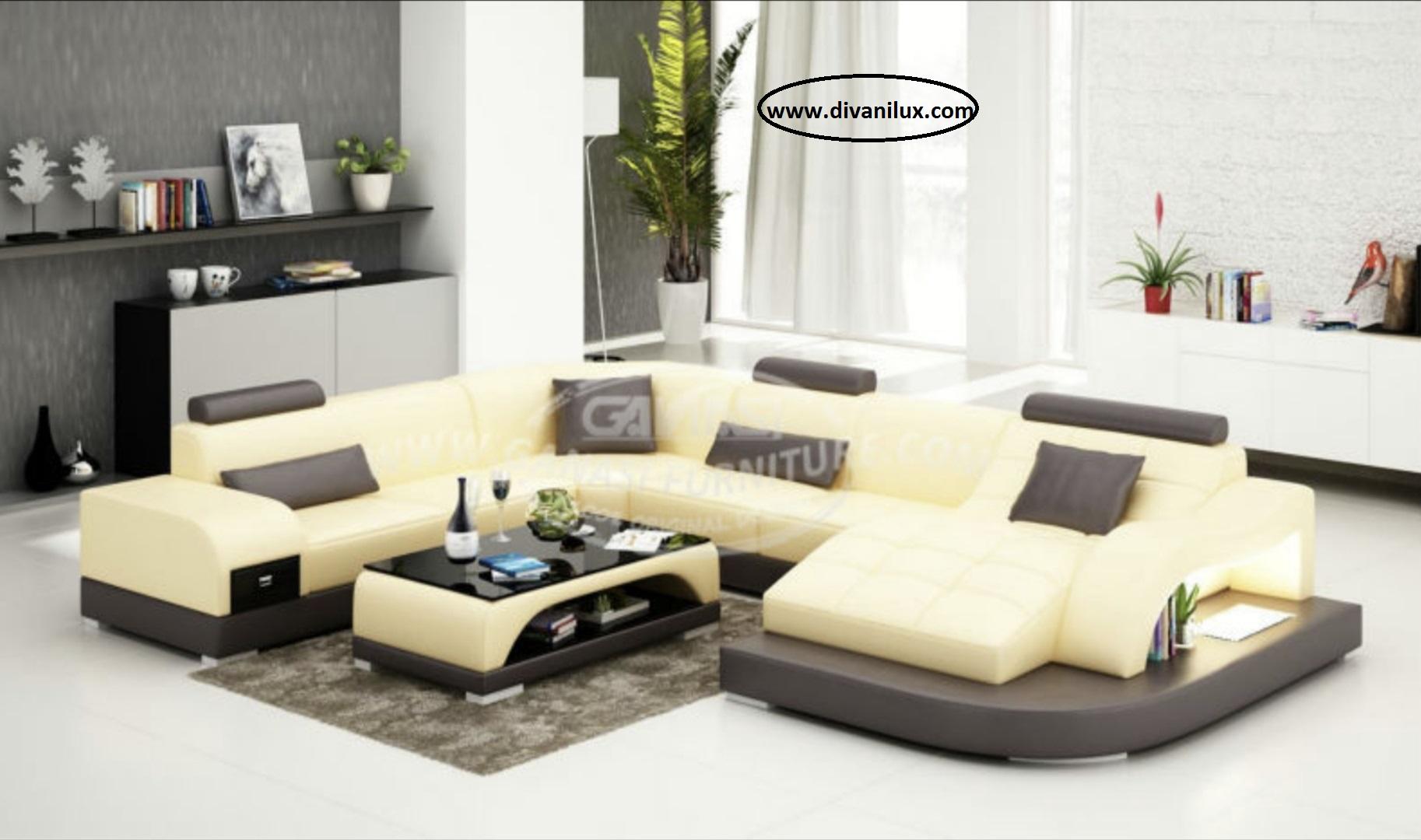 Пе-образен диван с ортопедична лежанка 886