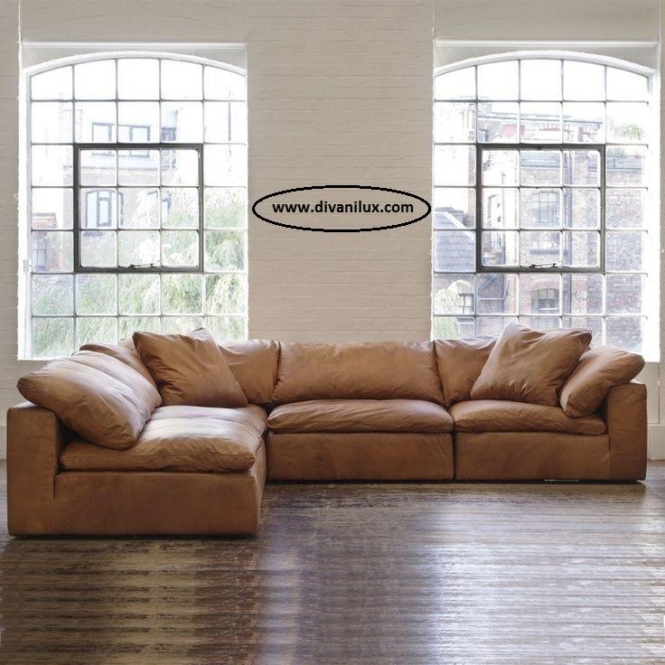 Кожен ъглов диван по поръчка 952