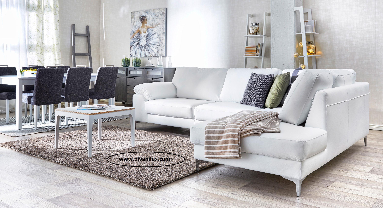 Бял ъглов диван с висококачествена дамаска 956