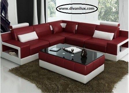 Ъглов кожен диван червено и бяло по поръчка 967