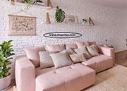 Ъглов диван в розово с мемори пяна по поръчка 1070