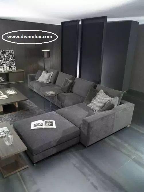 Ъглов диван в сиво табуретка и мемори пяна 1034