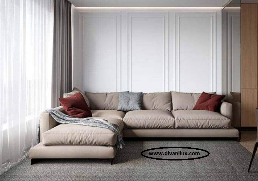 Ъглов диван с гъши пух по поръчка 1052