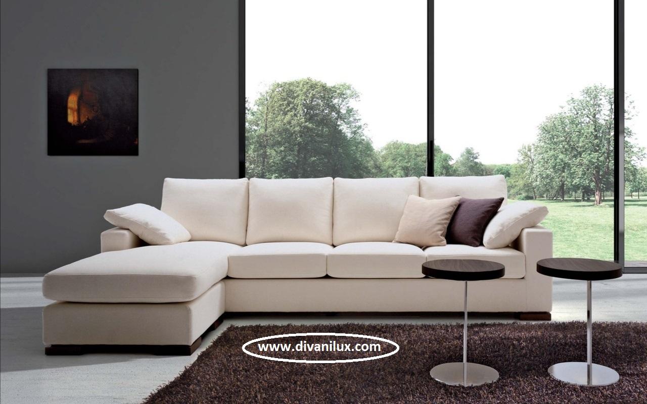 Ъглов диван с мемори пяна в цвят шампанско 1057