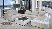 Пе-образен диван с табуретка тип маса по поръчка 1061