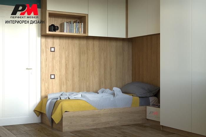 Интериор на спалня с функционално усвоено пространство.