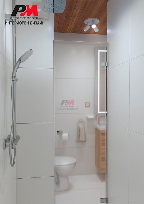 Съвременен интериорен дизайн на баня, нежно съчетание на бяло с естествено дърво.