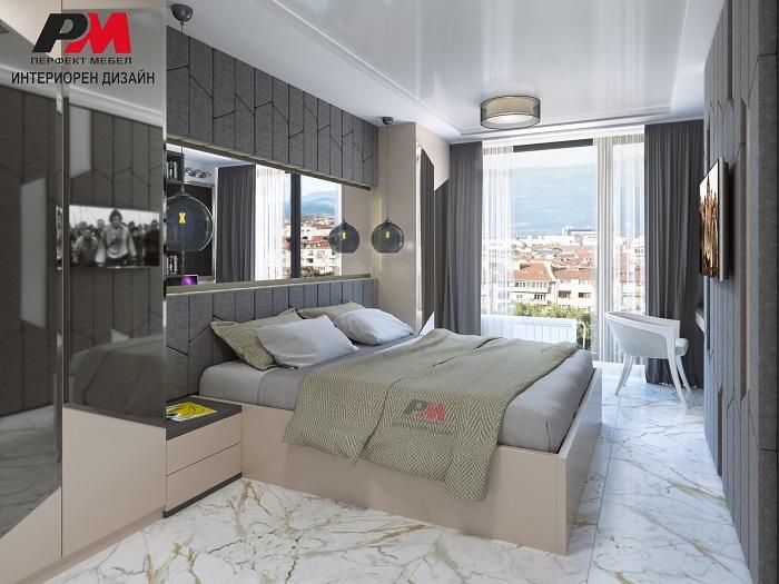 Изискан интериор на модерна спалня.