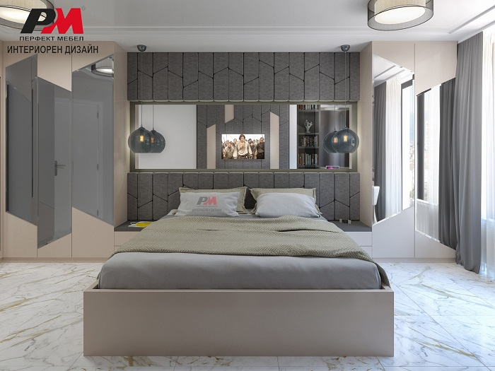 Модерен интериор на спалня с огледала.