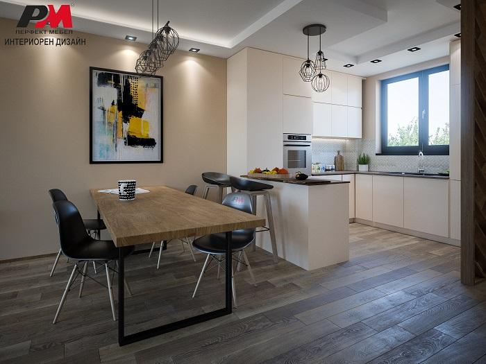Интериорен дизайн на дневна с кухнески бокс с подчертани винтидж елементи