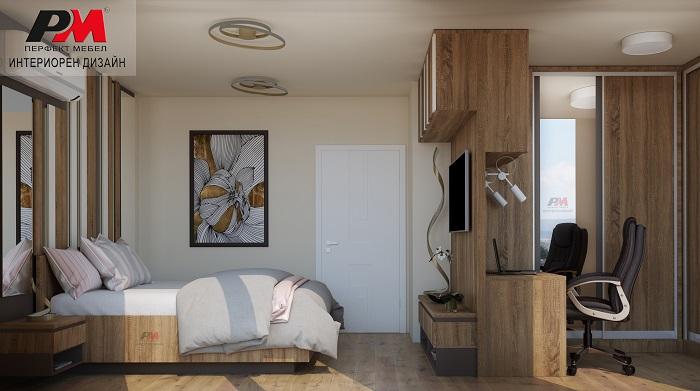 Спалня със стилно и уютно звучене със завладяващ дизайнерски интериор
