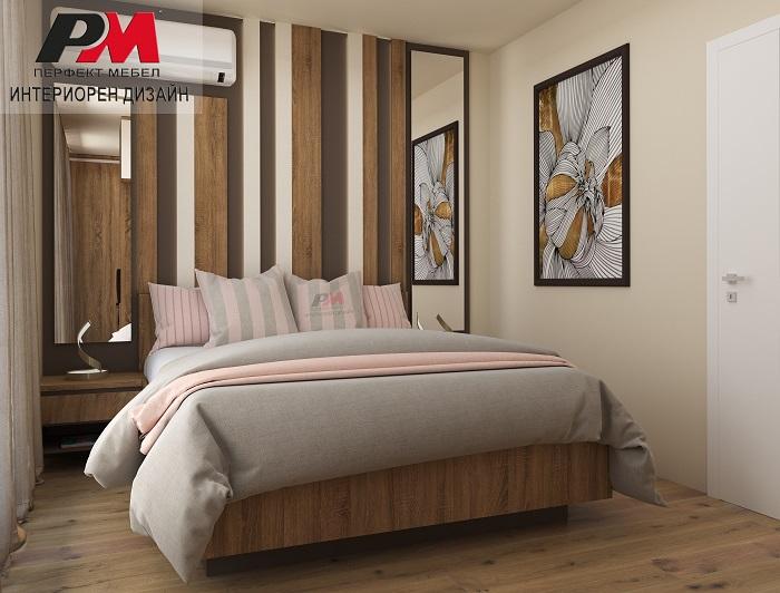 Съвременен интериор на родителска спалня в преобладаващи нежни кремави и дървесни тонове