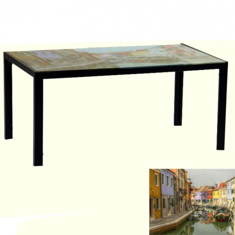 Елегантен модел маса с принт стъкло