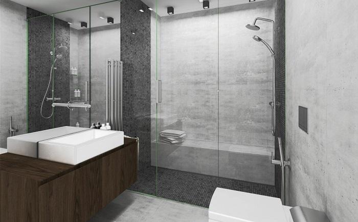 Модерна баня в сиво
