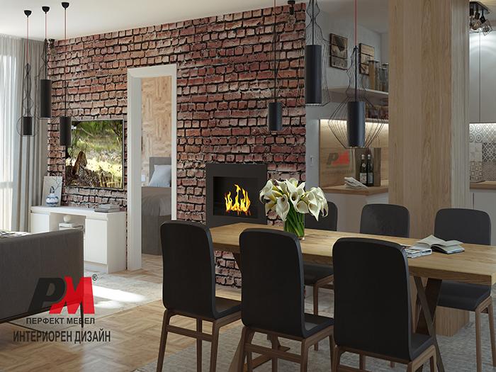 Елегнтна градска дневна в стил индустриален винтидж с акцент биокамина и стенна облицовка